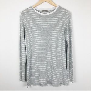 Athleta gray and white striped long sleeved shirt